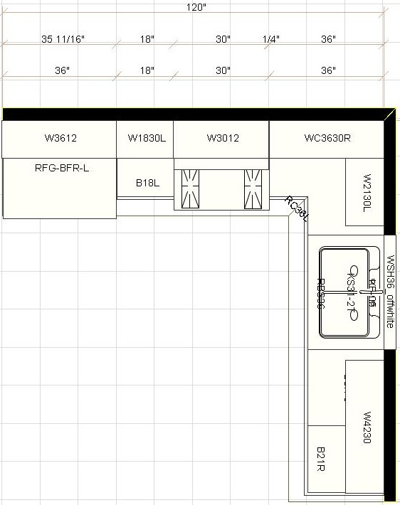 Layout for kitchen cabinets afreakatheart for 7 x 9 kitchen cabinets